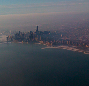 The Chicago Skyline from My Flight on Jan. 22