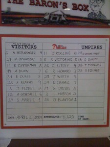 The lineups for the game (in the press box)