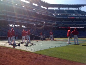 The view of batting practice from the dugout