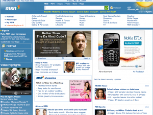 Front page of MSN (lower left)